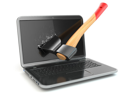 Laptop damaged by axe isolated on white background. Concept of anger when working at the computer or in internet. 3d Stock Photo