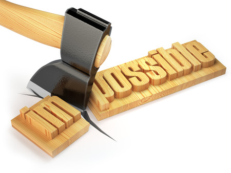 achievable: Changing of word impossible into possible on wooden plank with axe isolated on white background. 3d Stock Photo