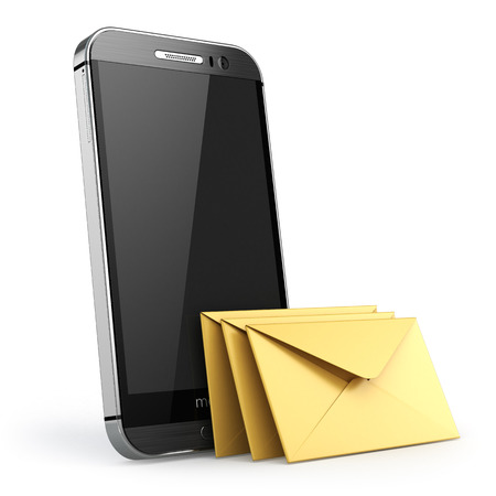 mobile sms: Mobile phone with short message service. Smartphone with envelopes. Sms concept. 3d Stock Photo