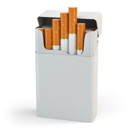 Open full pack of cigarettes isolated on white background. 3d photo