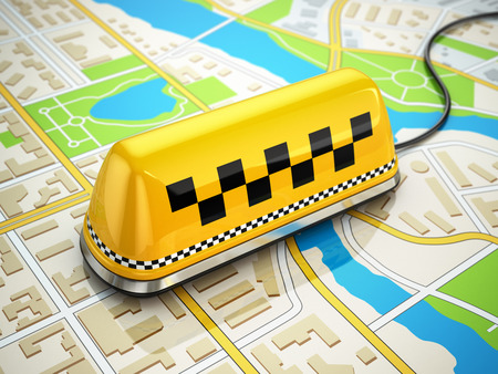 Taxi car sign on the city map. 3d photo