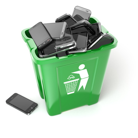 utilization: Mobile phones in garbage can isolated on white background. Utilization cellphones concept. 3d