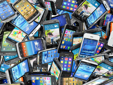 old cell phone: Mobile phones background. Pile of different modern smartphones. 3d