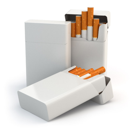 Open full packs of cigarettes isolated on white background. 3d photo