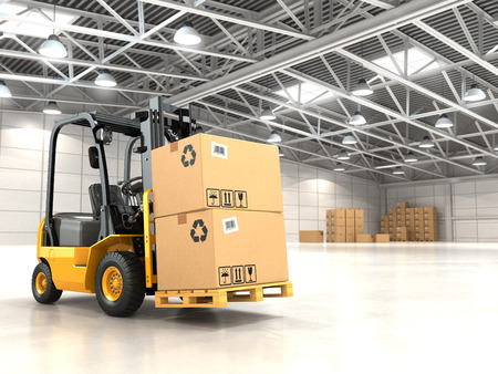 Forklift truck in warehouse or storage loading cardboard boxes. 3d Foto de archivo