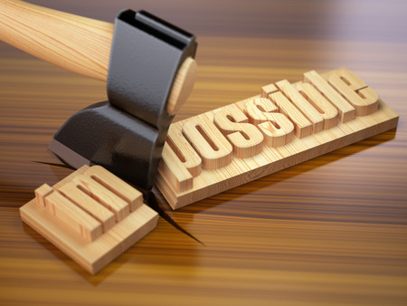 achievable: Changing of word impossible into possible on wooden plank with axe. 3d