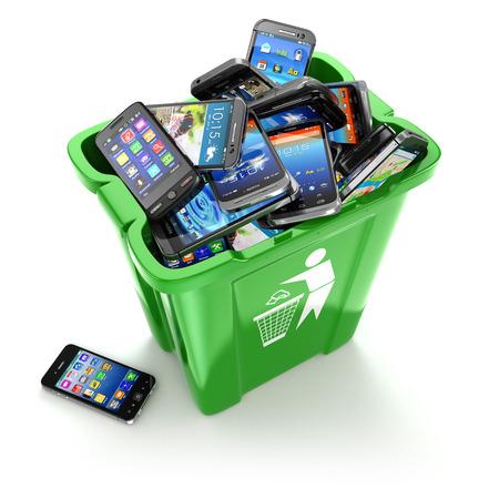 papelera de reciclaje: Los tel�fonos m�viles en bote de basura aislado en el fondo blanco. Tel�fonos celulares de utilizaci�n concepto. 3d Foto de archivo