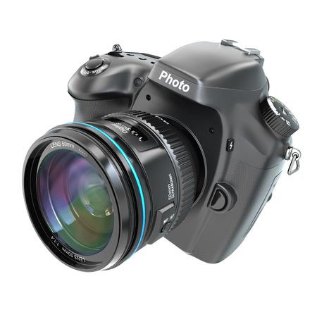 DSLR Digital photo camera isolted on white. 3d photo