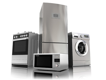 Electrodomésticos. Conjunto de técnicas de cocina del hogar aislado en blanco. Nevera, cocina de gas, horno microondas y lavadora. 3d Foto de archivo
