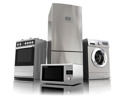 agd: Sprzęt AGD. Zestaw sprzętu kuchennych AGD na białym. Lodówka, kuchenka gazowa, kuchenka mikrofalowa i pralka. 3d Zdjęcie Seryjne