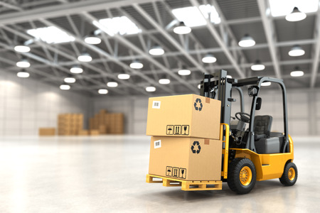 Forklift truck in warehouse or storage loading cardboard boxes. 3d Banco de Imagens