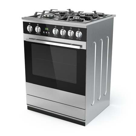 gas stove: Stainless steel gas cooker with oven isolated on white. 3d