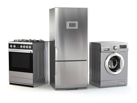 Huishoudelijke apparaten. Set van huishoudelijke keuken technics op wit wordt geïsoleerd. Koelkast, gasfornuis en een wasmachine. 3d Stockfoto