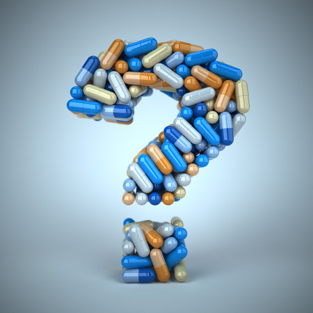 health questions: Pills or capsules as a question mark on blue background 3d Stock Photo