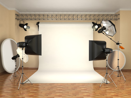 photo studio background: Photo studio with lighting equipment. Flashes, softboxes and reflectors. 3d