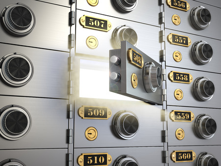 safety deposit box: Safe deposit boxes in a bank vault. Banking concept. 3d Stock Photo