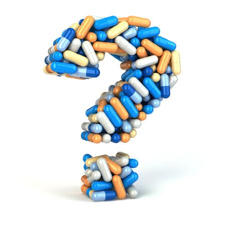 Tabletki lub kapsułki jako znak zapytania na białym tle izolowane 3d