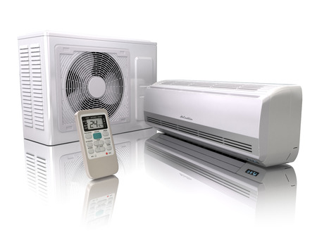 heat home: Air conditioner system isolated on white. 3d