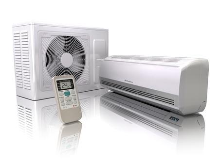 Airconditioner systeem geïsoleerd op wit. 3d Stockfoto