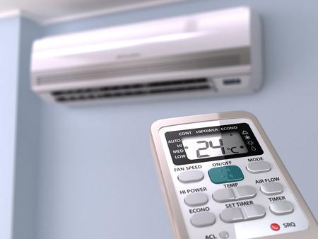 frio: Control remoto dirigido en systrem acondicionador de aire. 3d Foto de archivo