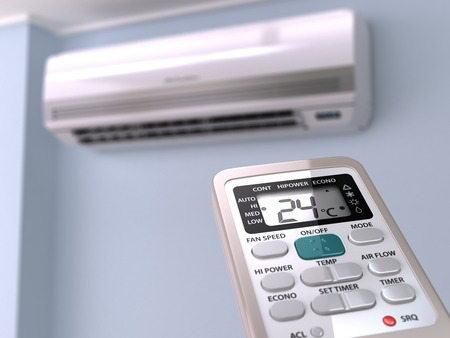 condition: Remote control directed on air conditioner systrem. 3d Stock Photo