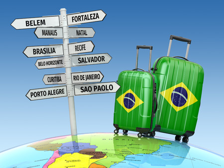 alegre: Travel concept. Suitcases and signpost what to visit in Brazil.  3d