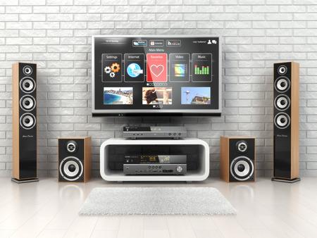 zábava: Home cinemar systém. TV, oudspeakers, přehrávač a přijímač v místnosti. 3d