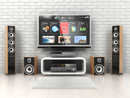 equipo de sonido: Sistema Cinemar Home. TV, oudspeakers, reproductor y el receptor en la habitación. 3d Foto de archivo