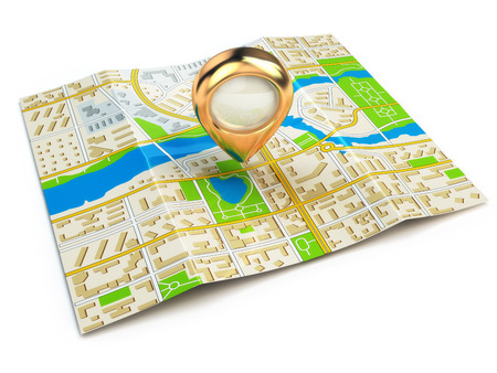 straight pin: Navigation concept. GPS map of the city and golden pin. 3d Stock Photo