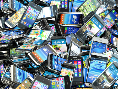 to phone: Mobile phones background. Pile of different modern smartphones. 3d