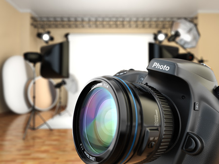 DSLR camera in photo studio with lighting equipment, softbox and flashes. 3d 写真素材