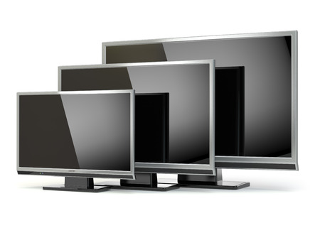 flat screen tv: TV flat screen lcd or plasma isolated on white. .Digital broadcasting television. 3d