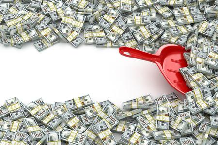 banco dinero: Dinero concepto financiero. Cucharada y paquetes de d�lares. Espacio para el texto. 3d Foto de archivo