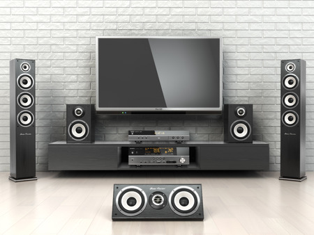 home entertainment: Home cinemar system. TV,  oudspeakers, player and receiver  in the room. 3d Stock Photo