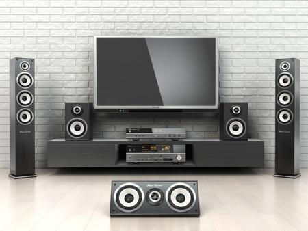 Sistema Cinemar Home. TV, oudspeakers, reproductor y el receptor en la habitación. 3d Foto de archivo - 35276087