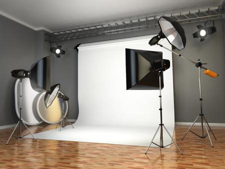 フォト スタジオ照明器具です。フラッシュ、ソフト ボックスと反射。3 d