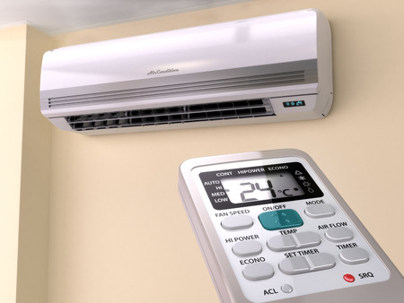 conditioner: Remote control directed on air conditioner systrem. 3d Stock Photo