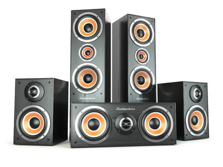 party system: Group of audio speakers. Loudspeakers isolated on white. 3d Stock Photo