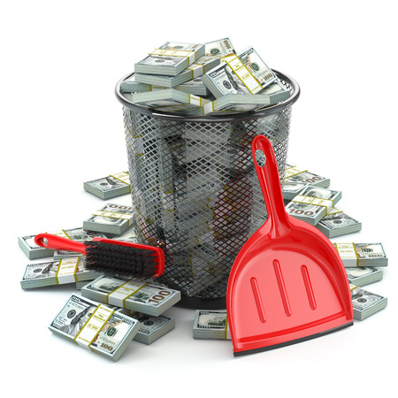 money packs: Packs of dollar in the garbage can. Waste of money or currency collapse concept. 3d