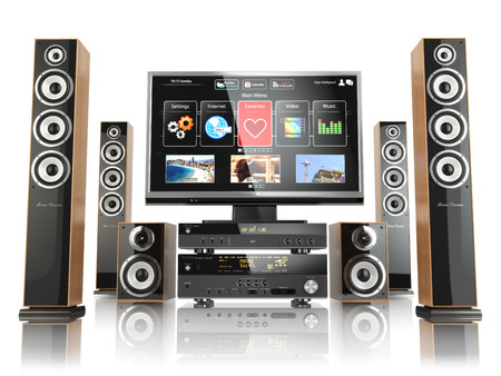 stereo subwoofer: Home cinemar system. TV,  oudspeakers, player and receiver  isolated on white. 3d