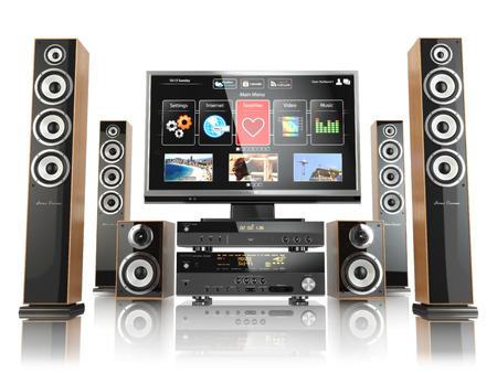 sonido: Sistema Cinemar Home. TV, oudspeakers, reproductor y el receptor aislado en blanco. 3d Foto de archivo