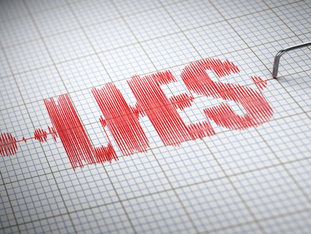 Concept of lies. Lie detector with text. 3d Stock Photo