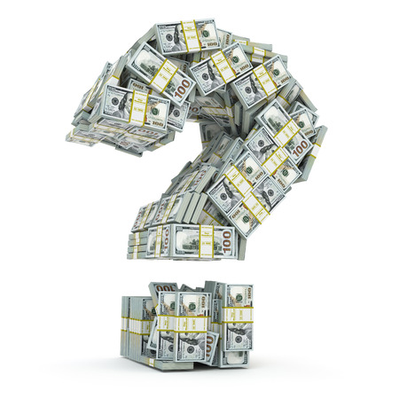 money packs: Question sign from packs of dollar isolated on white. Where to invest money concept. 3d Stock Photo