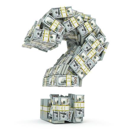 Vraag teken van verpakkingen van de dollar op wit wordt geïsoleerd. Waar te investeren geld concept. 3d