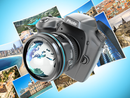 Digital photo camera on background from photographs. 3d photo