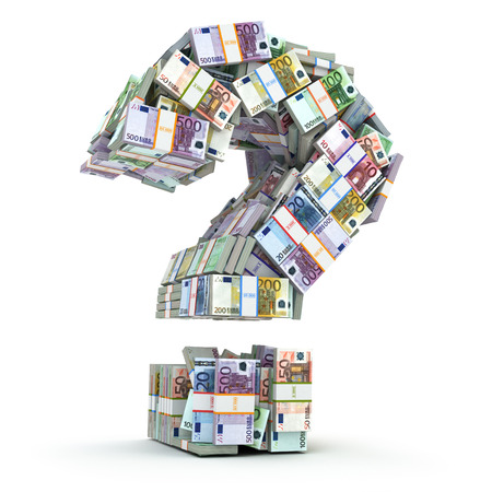 money packs: Question sign from packs of euro isolated on white. Where to invest money concept. 3d