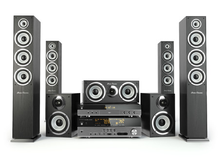 home audio: Home cinema speaker system. Loudspeakers, player and receiver isolated on white. 3d Stock Photo