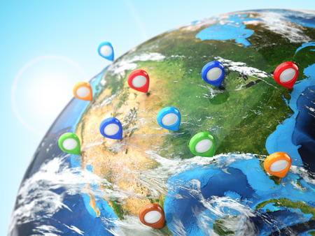 Travel destination concept. Pin on earth. Navigation in USA. 3d Stok Fotoğraf