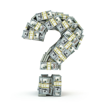 money stacks: Question sign from packs of dollar isolated on white. Where to invest money concept. 3d Stock Photo