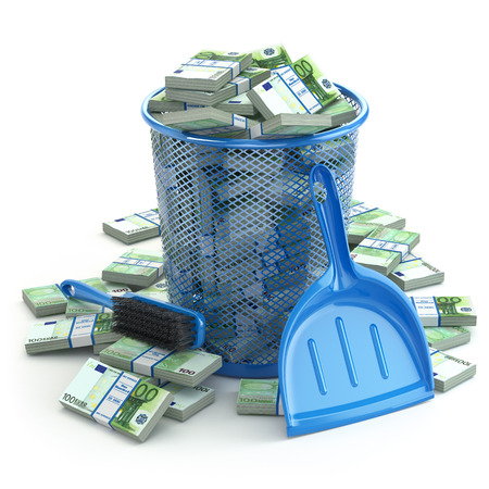 commercial recycling: Packs of euro in the garbage can. Waste of money or currency collapse concept. 3d Stock Photo